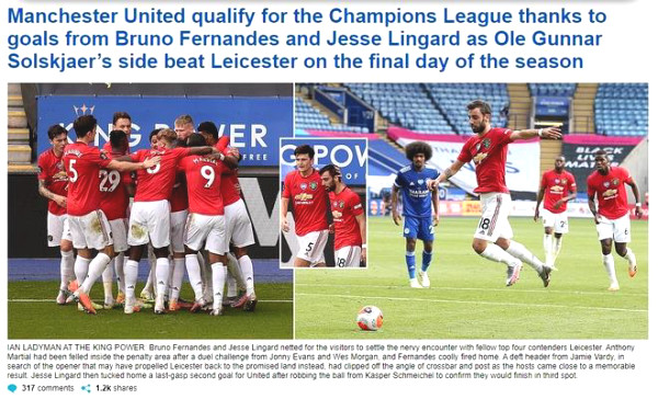 """MU defeated Leicester for the Top 3: Which two """"heroes"""" do British newspapers hail?"""