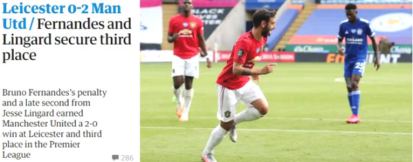 MU lowered into the Top 3 Leicester: British newspapers hailed two