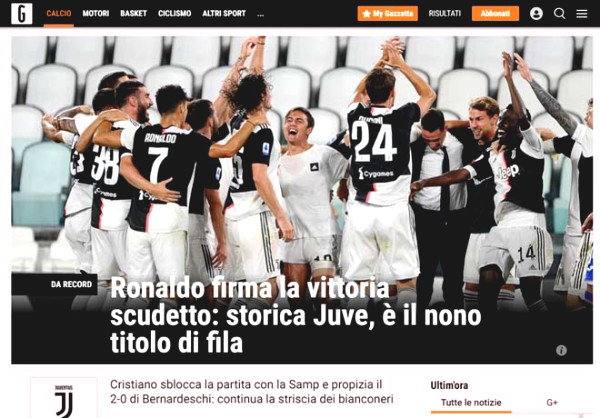 Serie A champions Juventus: Italian newspapers hailed Ronaldo, honored trophy