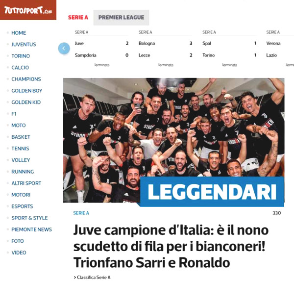 Serie A Champion Is Juventus Italian Newspapers Hailed Ronaldo Honored Trophy