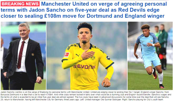 Blockbuster shaking Premier League: Sancho to MU for record price, confirmed by big boss?