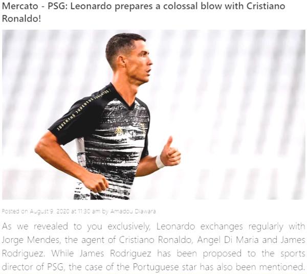 "Shocking: Ronaldo easily follows Sarri, ""super broker"" meet PSG"