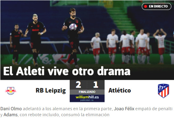 Atletico ousted pain Cup C1: Spanish newspapers blame Simeone