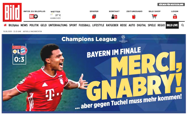 Bayern defeated Lyon to C1 Cup finalist: Newspapers still feel sorry for Lewandowski