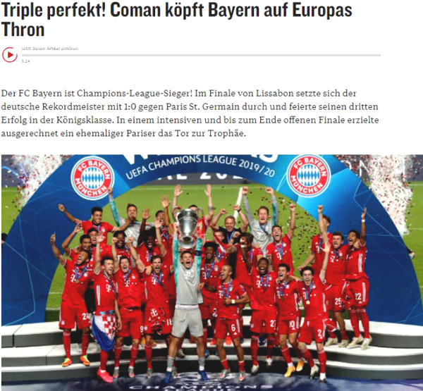 C1 Cup champion Bayern Munich: Press praised the heroes unexpectedly lowered PSG