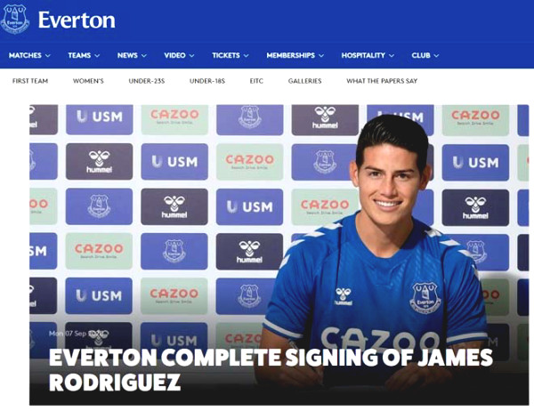 James Rodriguez joined Everton from Real