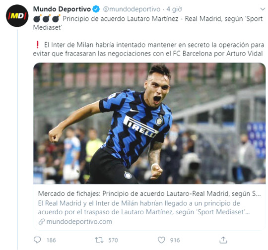 Rumor about Real reaching an agreement to recruit Martinez Lautaro for 100 millions Euros
