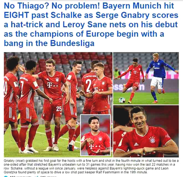 Bayern's 8-0 Bundesliga win: Europe overwhelmed, newspapers always recommend awarded trophy