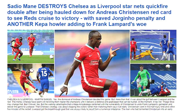 Liverpool defeated Chelsea, British newspapers predicted that Lampard can be fired