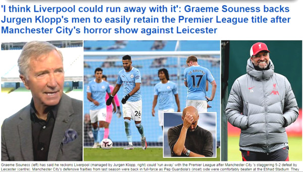 British newspapers criticized Manchester City for losing, put champion possibility to Liverpool