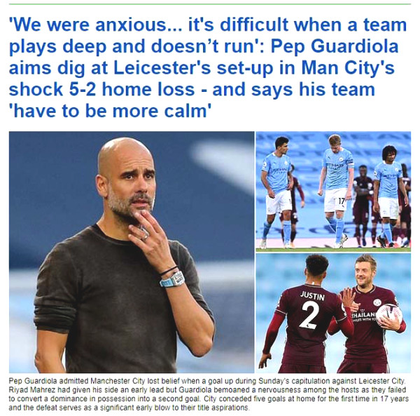 British newspapers criticized Manchester City lost to broken, put doors champions Liverpool
