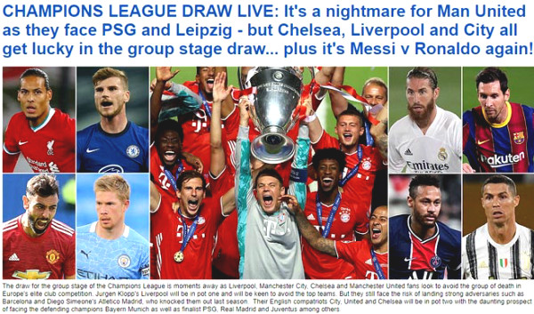 """C1 Cup draw: British newspapers worry that MU will meet their """"nightmare"""", waiting for """"classic"""" Ronaldo - Messi"""