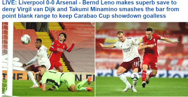 "Arsenal defeated Liverpool: ""Hero"" Leno with 9 saves, British newspapers praised"