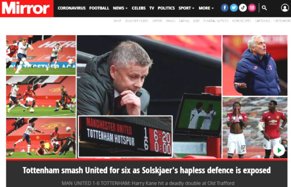 MU got defeated 1-6: British newspapers is shocked, worries that Solskjaer may lose seat