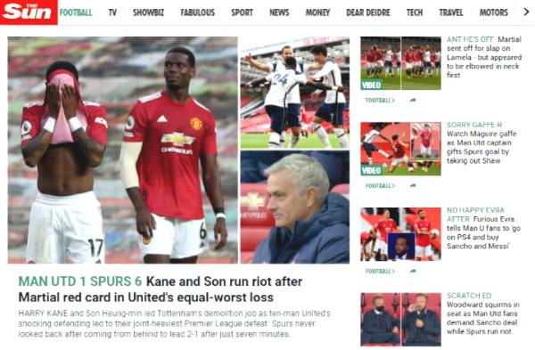 MU defeat 1-6: British newspapers defense shocked