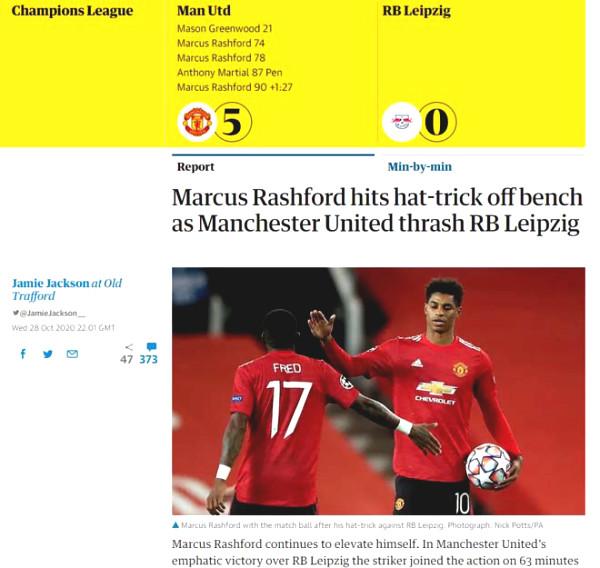 MU C1 Cup victory Leipzig: British newspapers praise Rashford sobbed as Van Nistelrooy