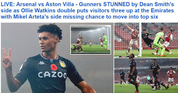 Arsenal lost shockingly to Aston Villa: The press criticized badly