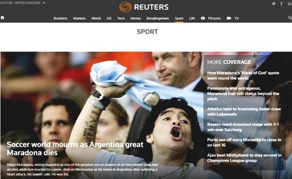 "World press mourn ""Golden Boy"" Maradona: ""The hand of the God"" is immortal"