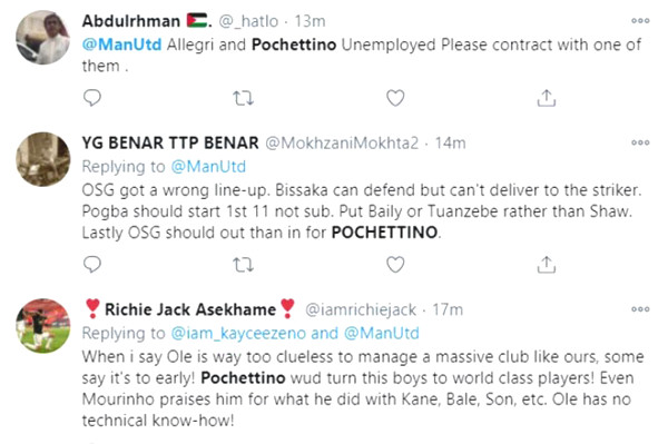 Fans are angry because of the C1 trophy shock, claiming Solskjaer right away to welcome Pochettino