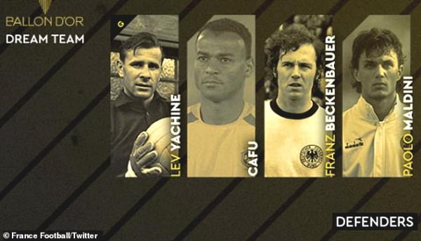 "Dream Super team of ""Golden balls"": Messi - Ronaldo are with the legends"