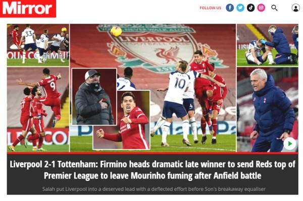 Liverpool defeated Tottenham: British Press praises them to deserve number 1, unfortunately for Mourinho