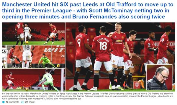 Mu Dai Thang Leeds 6-2: Leopard him stunned, praised McTominay heroes