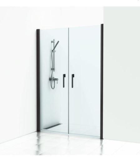 Svedbergs Forsa dobbelt svingdør 110 cm, Frostet glass/Matt alu profil