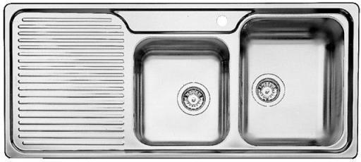 Blanco Classic 8S, Kjøkkenvask 116x51 cm m/kurvventil, Rustfritt Stål