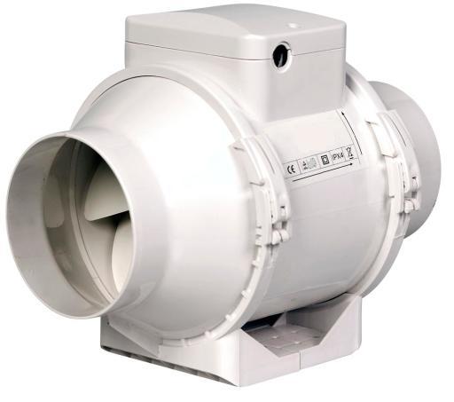 Duka EL100TT Kanalventilator Ø125 mm - hvit plast