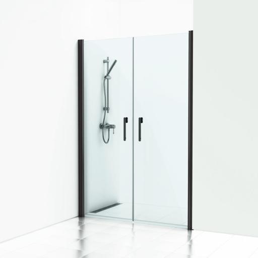 Svedbergs Forsa dobbelt svingdør 140 cm, Frostet glass/Matt sort profil