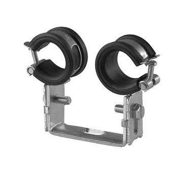 Dobbel rørklammer m/isolering - 16-19mm