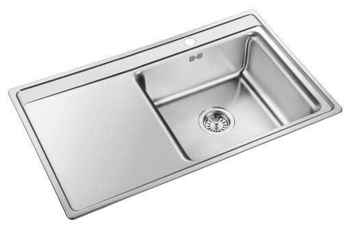 Prisma Cleveland Kjøkkenvask 85x50,6 cm, m/kurvventil, Rustfritt stål