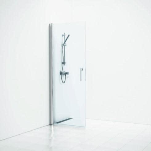 Svedbergs Forsa Skjermvegg 80 cm, Klart glass / Alu blank profil