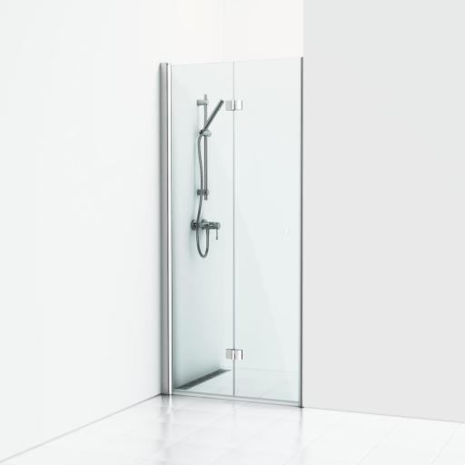 Svedbergs Forsa venstrehengt foldedør 80 cm, Klart glass/Matt alu profil