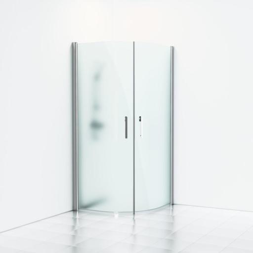 Svedbergs Forsa Dusjhjørne Rund 80x80 cm, Matte profiler & frost glass