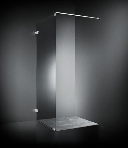 Dansani AIR 3301 Dusjvegg 100 cm m/gulvbeslag & 90 cm stang, Klart glass/Krom profil