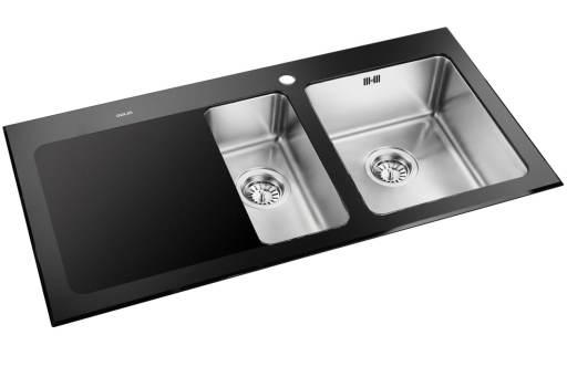 Prisma Nashville Kjøkkenvask 100x50,6 cm, m/kurvventil, Rustfritt stål/sort herdet glass