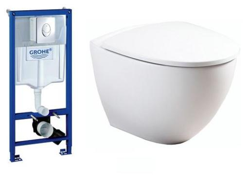 Komplet pakke m/GROHE sisterne, Betjeningsplate, Ifö Sign Art Toalett og soft close sete