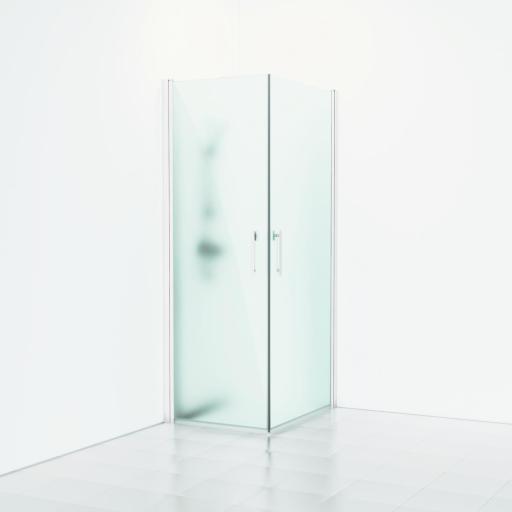 Svedbergs Forsa Dusjhjørne 80 x 80 cm, Frostet glass/Matt hvit profil