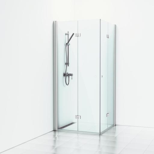 Svedbergs Forsa Dusjhjørne m/Foldedører 80 x 80 cm, Klart glass/Matt alu profil