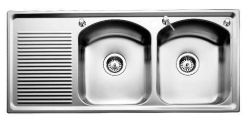 Intra Mega IMPE80 Kjøkkenvask 110x50 cm, m/Kurvventil, Rustfritt stål