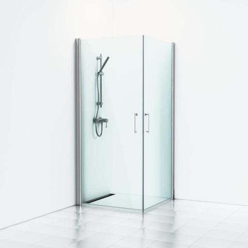 Svedbergs Forsa Dusjhjørne 80x80 cm, Blanke profiler & klart glass