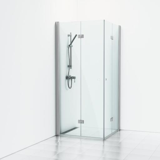 Svedbergs Forsa Dusjhjørne m/Foldedører 80 x 80 cm, Klart glass/Blank alu profil