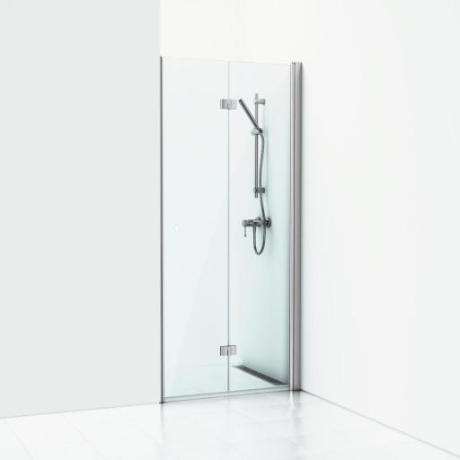 Svedbergs Forsa Høyrehengt foldedør 90 cm, Klart glass/Blank alu profil
