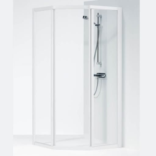Ifö Solid dusjhjørne SVP 90x70x195 cm, Klart Glass / Hvit Profil