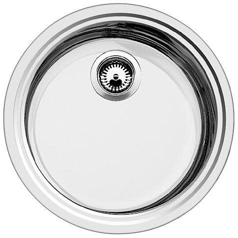 Blanco Rondosol Mikrokant, Kjøkkenvask Ø44,8 cm, m/kurvventil, Rustfritt stål