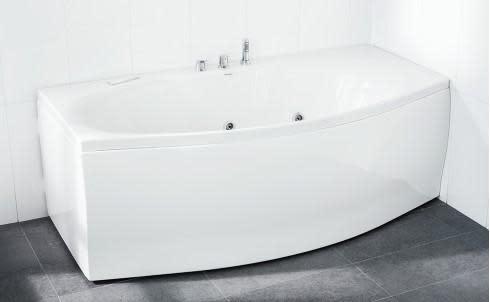 Svedbergs Badekar Z180 180x70/90 cm, m/kantmontert Nice armatur & front - Hvit