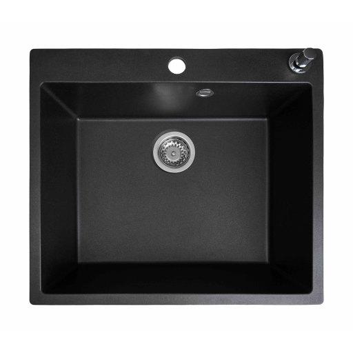 Prisma Houston Kjøkkenvask 59x52,5 cm, m/kurvventil, Granittek