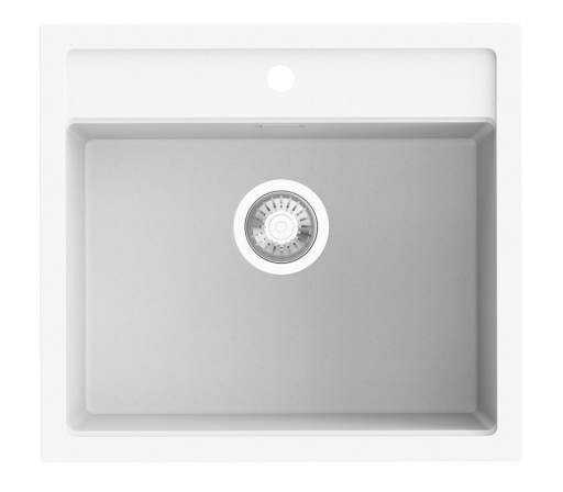 Prisma Honolulu Kjøkkenvask 56x51 cm m/Kurvventil, Hvit granitek