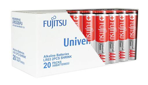 Fujitsu Universal Power AAA Alkaline Batterier - 40 stk.